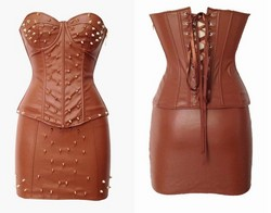 Brown Pleather Faux Leather Studded Corset & Mini Skirt Set ~ S-XXL