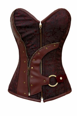 Brown Brocade Jacquard & Pleather Steampunk Corset Set - S,M,L,XL,XXL
