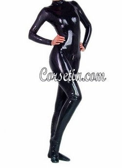 Black Genuine Latex Full Body Footed Long Sleeved Bodysuit CatSuit - XXS~XXXL