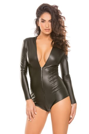 Black Shiny Vinyl Shorts Zip Front Hooded Catsuit