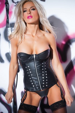 Black Pleather Underwire Studded Zip Front Corset