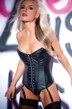 Black Pleather Strapless Riveted Corset Bustier & G-String Set - S,M,L,XL