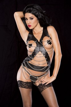 Black Pleather Straps and Chains Bustier Top & Panty Set