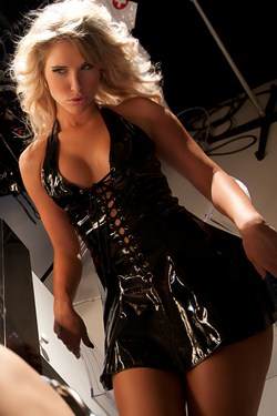 Black PVC Vinyl Lace Up Flared Mini Dress - S,M,L,XL