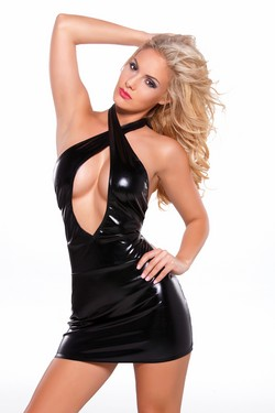 Black Wet Look Criss Cross Open Front Tight Dress
