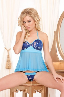 Blue Brocade, Rubber Look Vinyl & Sheer Georgette 2 Piece Babydoll Chemise Set - One Size