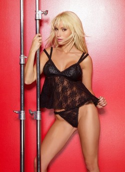 Black Leather & Lace Babydoll & G-String Set - One Size, Diva Size