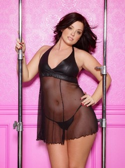 Black Leather & Sheer Fishnet Baby Doll & G-String Ensemble - Diva Sizes