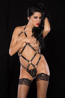 Black Leather & Metal O Rings Strappy Harness Teddy