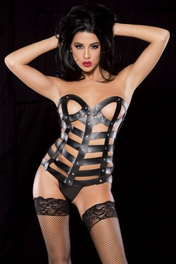 Black Leather Strappy Cage Corset & Panty Set