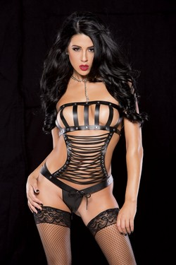 Black Leather Strapped Lace Up Corset Set