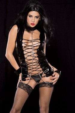 Black Shiny Vinyl Lace Up Front Corset Hand Cuff Set