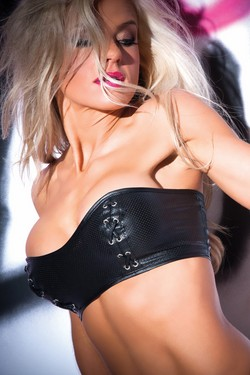 Black Pleather Strapless Bandeau Bustier Top ~ S-XL