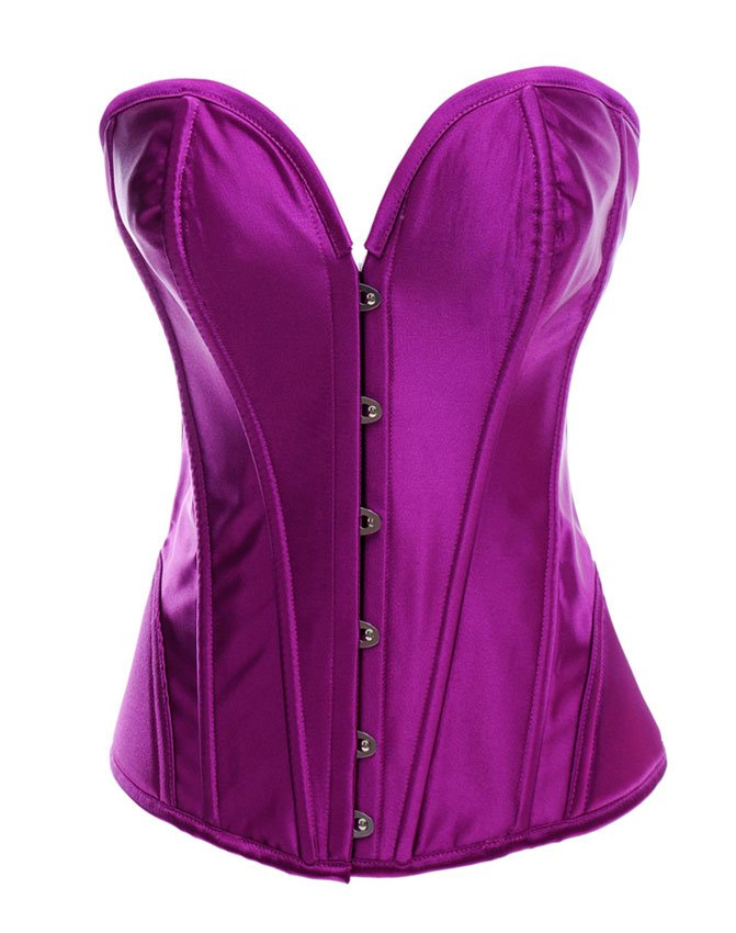 Purple Satin Strapless Steel Boned Corset and Thong Panty Set - S,M,L,XL,XXL
