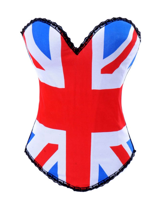 United Kingdom Union Jack Flag Strapless Corset & Thong Panty Set ~ S-XL