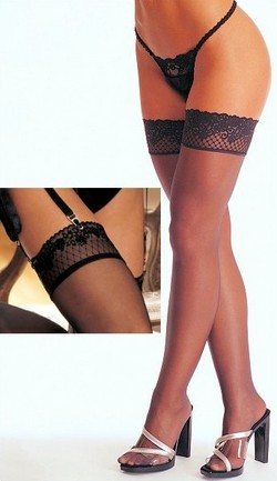Lace Top Sheer Thigh High Panty Hose - Black, O/S
