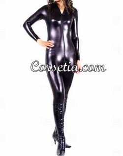 Black Metallic Shiny Full Body Long Sleeved Bodysuit CatSuit - XXS~XXXL