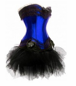 Blue Satin & Black Boned Corset, Tutu Skirt & Panty Set - S,M,L,XL