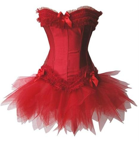 Red Satin Boned Ruffled Corset w/ Tutu Skirt & Thong Panty Set - Various Colors - S,M,L,XL