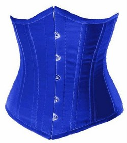 Blue Satin Cupless Boned Corset/Waist Cincer & G-String Set - S,M,L,XL