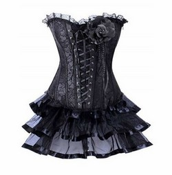 Black Lace Ruffled Trim Corset, Petticoat Skirt & Panty Set - S,M,L,XL,XXL