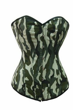 Camouflage Camo Print Sweetheart Neckline Strapless Corset & Thong Panty Set ~ S-XL