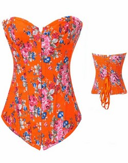 Orange Floral Denim Corset