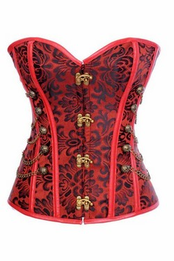 Red Jacquard Faux Leather Clasp Front Steampunk Corset
