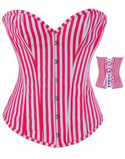 Red and White Striped Cotton Boned Corset & Thong Set - S,M,L,XL,XXL