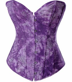Purple Tye Dye Look Print Denim Boned Corset & Thong Panties - S,M,L,XL,XXL