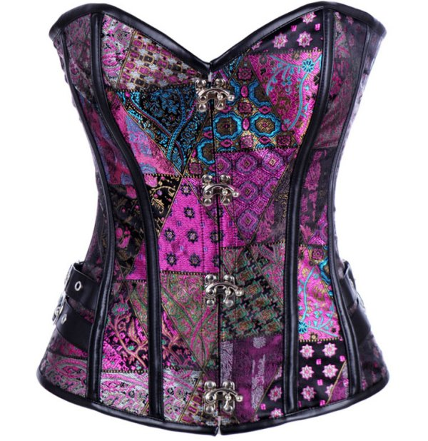 Purple Patchwork Brocade Jacquard & Pleather Steampunk Corset Set - S,M,L,XL,XXL