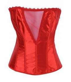 Red Satin Sheer V Front Corset Panty Set - S,M,L,XL,XXL