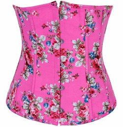Pink Multi Color Floral Print Denim Underbust Corset Set - S~XXL
