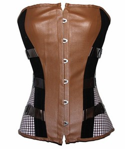 Brown Pleather Steampunk Corset Set - S,M,L,XL