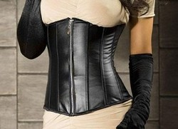 Black Pleather Faux Leather Zipper Front Underbust Corset & Panty Set ~ S-2XL