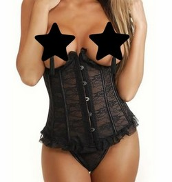 Black Lace Curved Top Underbust Waist Cincer Corset & Thong Panty Set ~ S-XXXXXL