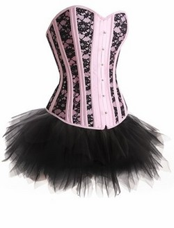 Pink Satin & Black Lace Steel Boned Corset, Tutu Skirt & Ruffled Panty Set ~ S-XL