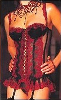 Black & Red Lace and Sheer Mesh Long Bustier Corset - S,M,L,XL,XXL
