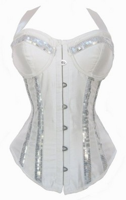 White Sequined Bustier Top Halter Neckline Boned Corset ~ S-XXL
