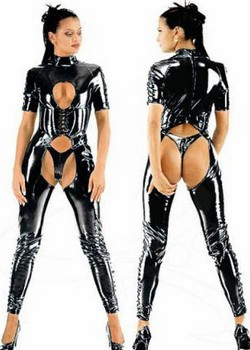 Black PVC Vinyl Cut Out Full Body Suit / Cat Suit