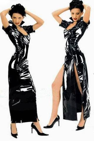 Black PVC Vinyl Vamp Long Dress