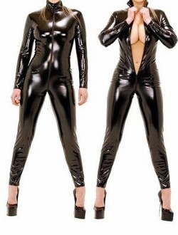 Black PVC Vinyl Full Body Suit / Cat Suit - L