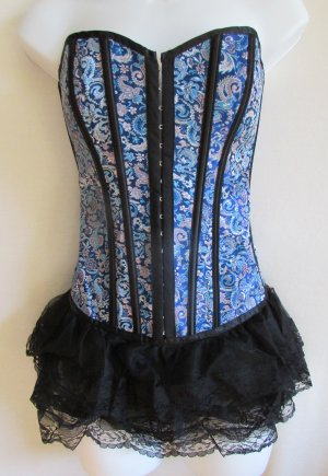 Blue Asian Lace Bottom Corset & Panty Set