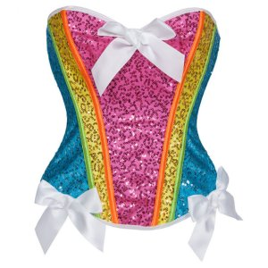 Rainbow Sequined Corset Set ~ S-XXL